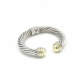 DAVID YURMAN STERLING SILVER & 14K CABLE DOME HINGED CUFF SIZE 6.25 #1029B-1
