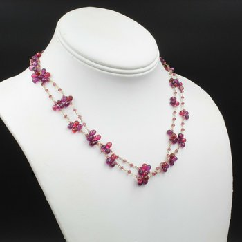 BEAUTIFUL 14K SOLID GOLD SUZANNE KALAN CRIMSON TOPAZ & SAPPHIRE NECKLACE#794B-10