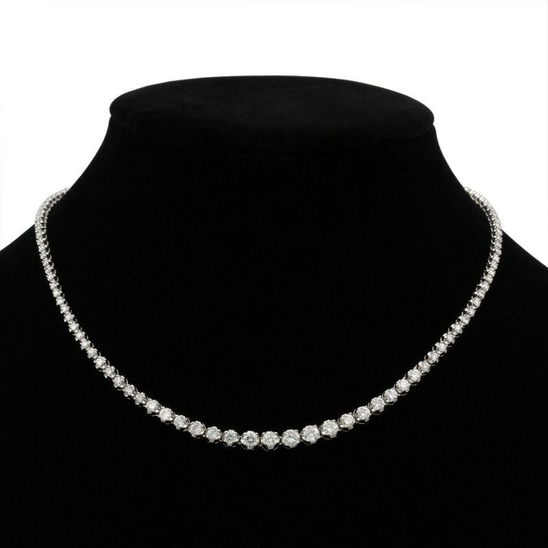 "National Rarities 14K WHITE GOLD 6.0 CTW GRADUATED ROUND DIAMOND 17"" NECKLACE STUNNING #E-187"