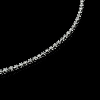 "14K WHITE GOLD 6.0 CTW GRADUATED ROUND DIAMOND 17"" NECKLACE STUNNING #E-187"