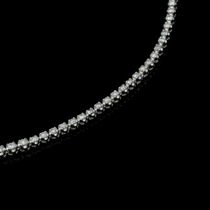 "National Rarities 14K WHITE GOLD 6.0 CTW GRADUATED ROUND DIAMOND 17"" NECKLACE STUNNING #E-187"