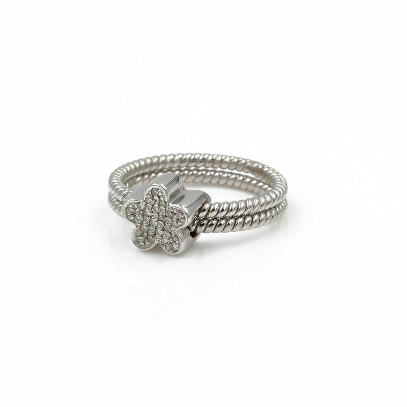 National Rarities 18K WHITE GOLD AND .15 CTW DIAMOND STAR SLIDE RING SIZE 6.5 #1004B-4