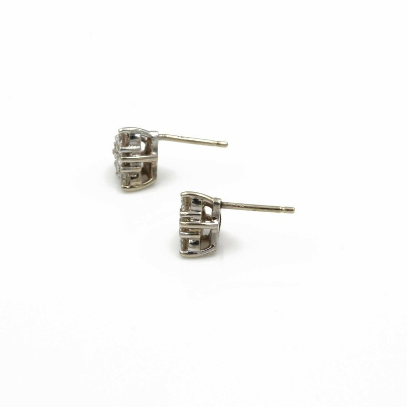 Unbranded 14K WHITE GOLD .36 CTW ROUND DIAMOND PYRAMID CLUSTER STUD EARRINGS #1085B-7