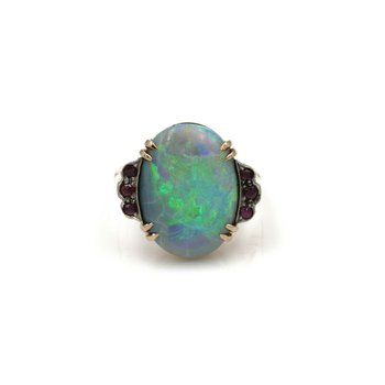 VINTAGE 14K GOLD 5.86 CTW OVAL BLACK OPAL CABOCHON AND RUBY RING S.6.75 #1084B-3