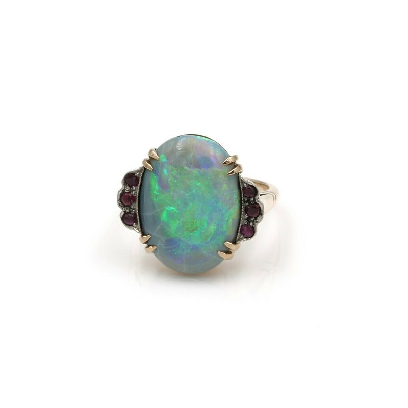 Ruby VINTAGE 14K GOLD 5.86 CTW OVAL BLACK OPAL CABOCHON AND RUBY RING S.6.75 #1084B-3