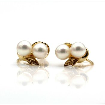 MIKIMOTO 14K YELLOW GOLD LEAF ROUND AKOYA PEARL EARRINGS SCREW BACK 1013B-4