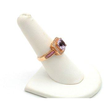 LEVIAN 14K STRAWBERRY GOLD CUSHION AMETHYST SAPPHIRE DIAMOND RING SIZE 7 #D5-6