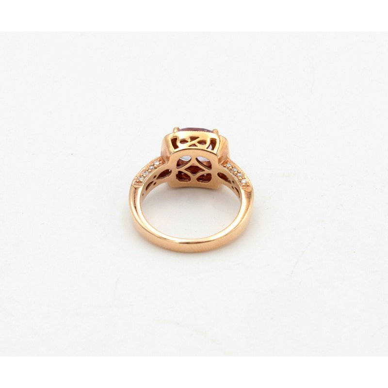 Suzy Levian LEVIAN 14K STRAWBERRY GOLD CUSHION AMETHYST SAPPHIRE DIAMOND RING SIZE 7 #D5-6