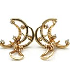 Unbranded 14K SOLID GOLD MULTI MOON DIAMOND EARRINGS WITH OMEGA BACKS .45CTW#J2154-2