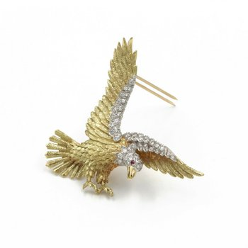 THE AMERICAN BALD EAGLE HERBERT ROSENTHAL PLATINUM 18K GOLD BROOCH 1976 #988B-2