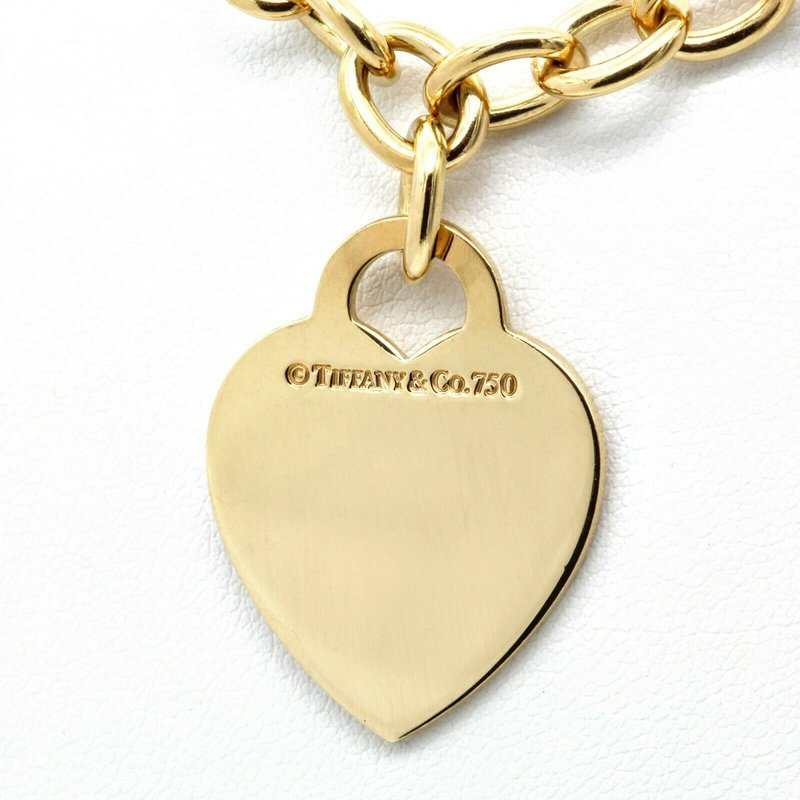 Tiffany Co TIFFANY AND CO. 18K YELLOW GOLD HEART TAG PENDANT NECKLACE 16 INCHES #D150-1