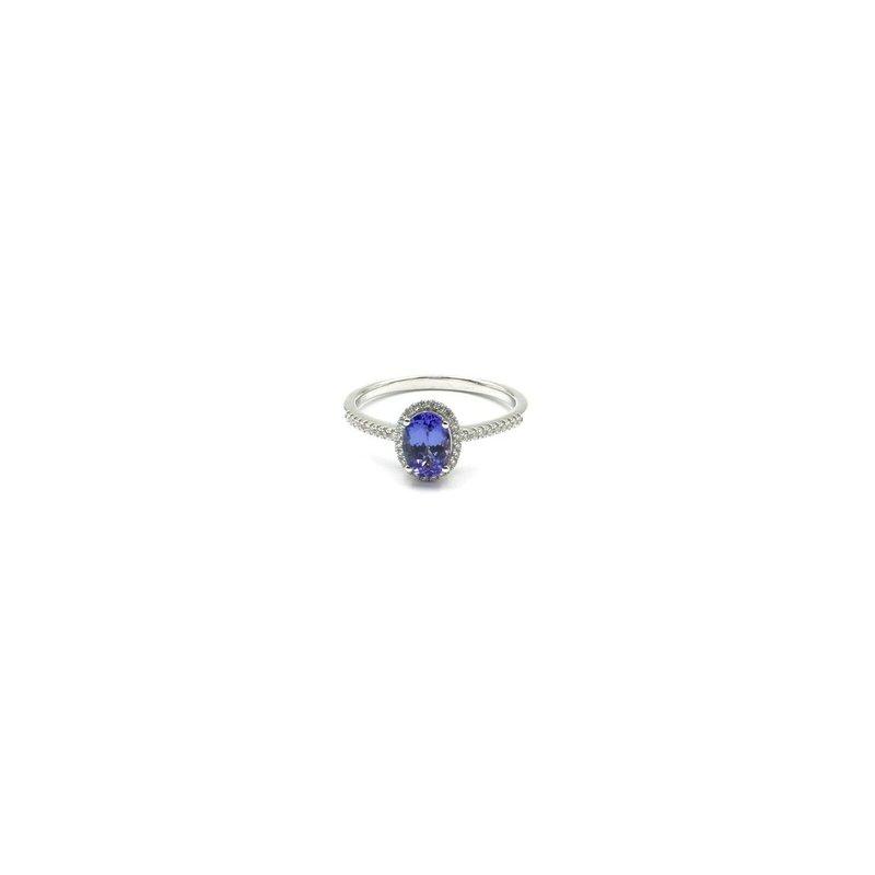 Halo 18K WHITE GOLD 1.1 CTW OVAL TANZANITE DIAMOND HALO RING SIZE 9 DAINTY #JB31-1