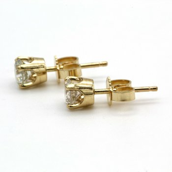 14K GOLD .50 CTW ROUND DIAMOND SOLITAIRE CLASSIC 4 PRONG STUD EARRINGS #1010B-6