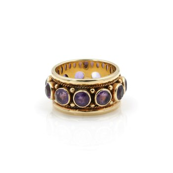 14K YELLOW GOLD VINTAGE ROUND BRILLIANT CUT AMETHYST BAND RING SIZE 7.75 #J711-2