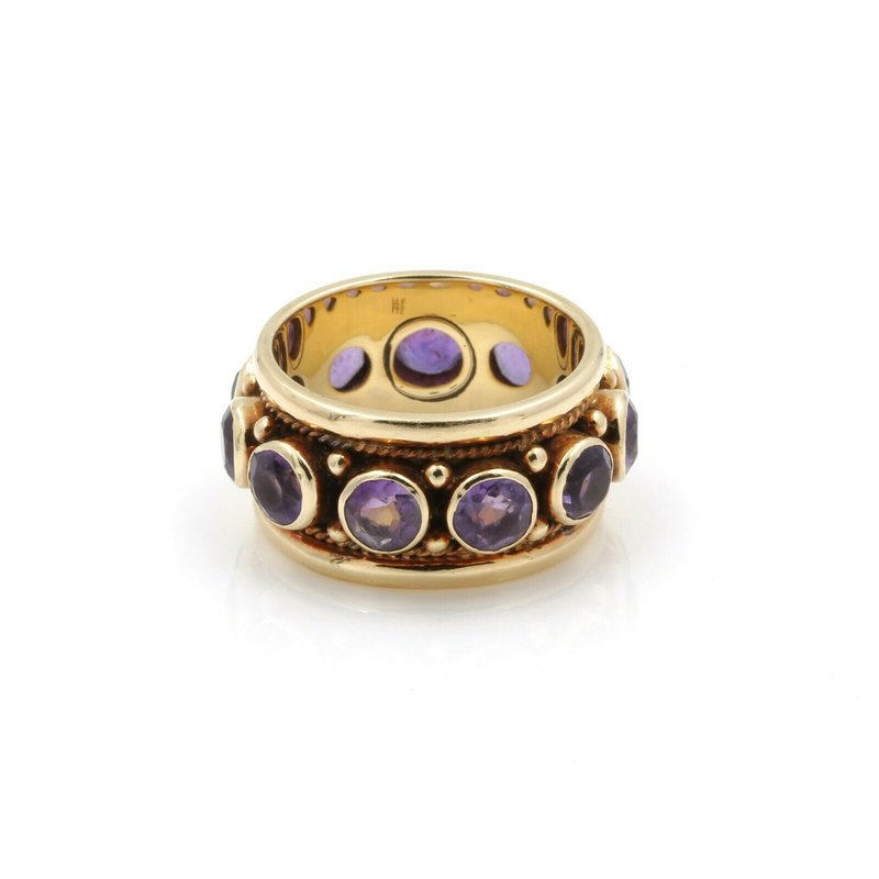 National Rarities 14K YELLOW GOLD VINTAGE ROUND BRILLIANT CUT AMETHYST BAND RING SIZE 7.75 #J711-2