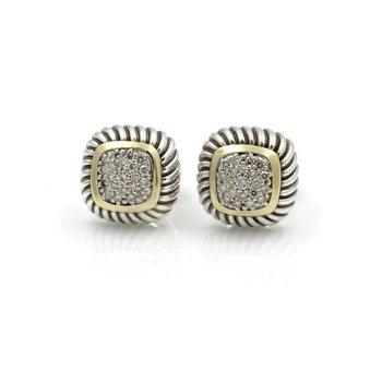 DESIGNER DAVID YURMAN STERLING SILVER & 18K DIAMOND ALBION CABLE EARRINGS D14-5