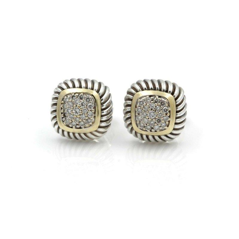 David Yurman DESIGNER DAVID YURMAN STERLING SILVER & 18K DIAMOND ALBION CABLE EARRINGS D14-5