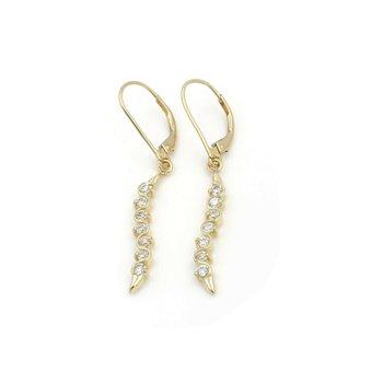 14K YELLOW GOLD ROUND CUBIC ZIRCONIA DROP/DANGLE EARRINGS #JB61-6