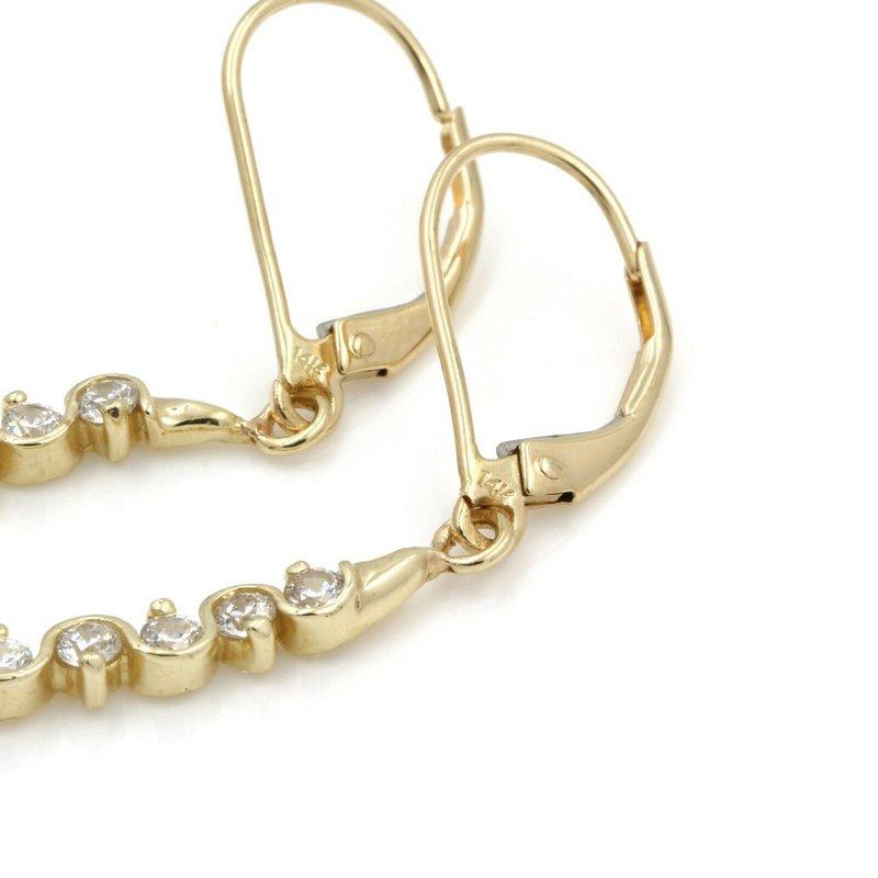 National Rarities 14K YELLOW GOLD ROUND CUBIC ZIRCONIA DROP/DANGLE EARRINGS #JB61-6