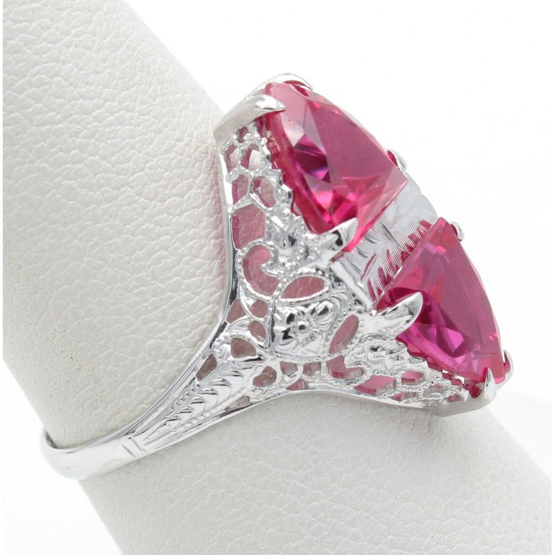 Unbranded VINTAGE 14K WHITE GOLD TWIN SHIELD CUT RUBY COCKTAIL RING SIZE 7.50 #JB30-5