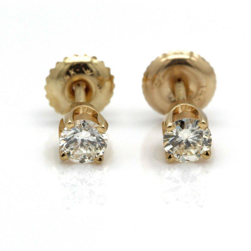 National Rarities 14K YELLOW GOLD FOUR PRONG ROUND BRILLIANT DIAMOND STUD EARRINGS 0.46CTW #JB41-1