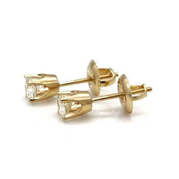 14K YELLOW GOLD FOUR PRONG ROUND BRILLIANT DIAMOND STUD EARRINGS 0.46CTW #JB41-1