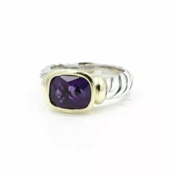 DAVID YURMAN STERLING SILVER 14K GOLD AMETHYST NOBLESSE CLASSIC CABLE RING D13-2