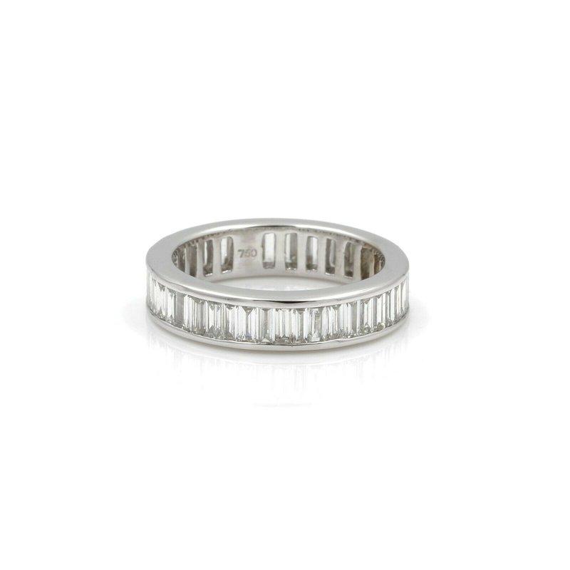National Rarities 18K WHITE GOLD STRAIGHT BAGUETTE DIAMOND CHANNEL SET ETERNITY BAND 3.00CT #E340