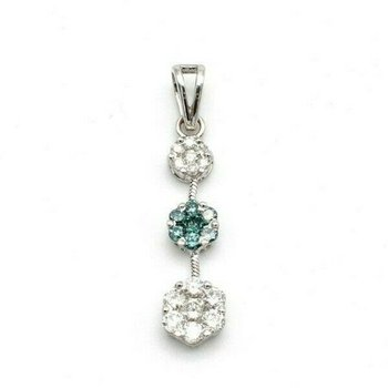 18K WHITE GOLD .86CTW BLUE WHITE DIAMOND FLOWER STATION DANGLE PENDANT #993B-1