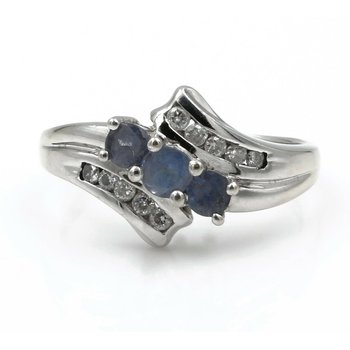 14K WHITE GOLD 3 STONE TANZANITE AND DIAMOND .87 CTW BYPASS RING SZ. 8.25 740B-8