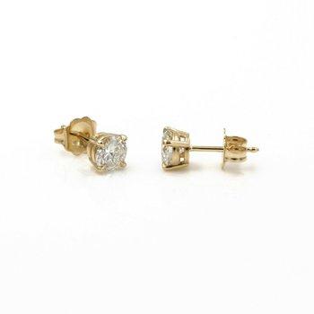 14K SOLID GOLD ROUND BRILLIANT CUT DIAMOND STUD EARRINGS 0.95 CTW PIERCE 1086B-6