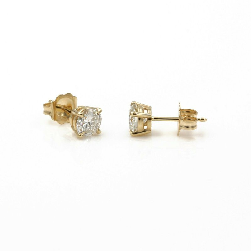 Unbranded 14K SOLID GOLD ROUND BRILLIANT CUT DIAMOND STUD EARRINGS 0.95 CTW PIERCE 1086B-6