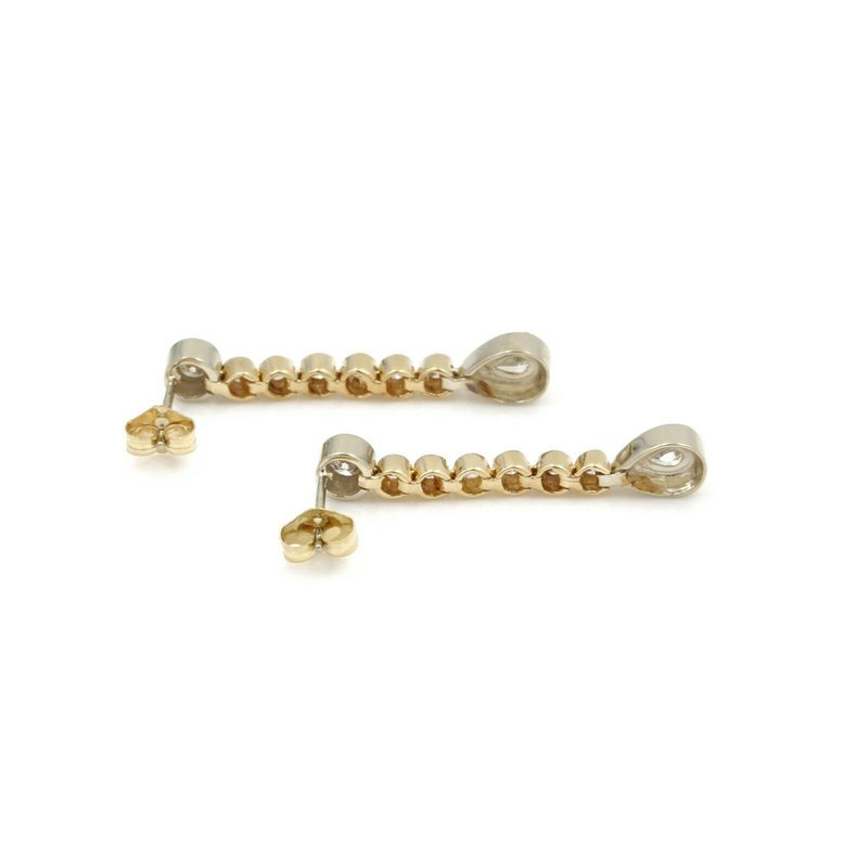 National Rarities 14K YELLOW GOLD 0.86 CTW ROUND AND PEAR DIAMOND DANGLE DROP EARRINGS #J2897-2