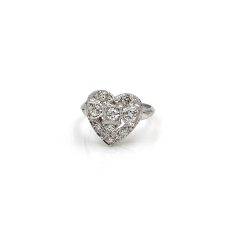 National Rarities VINTAGE WWII 14K WHITE GOLD .40 CTW OLD EURO DIAMOND SWEETHEART RING #1020B-7