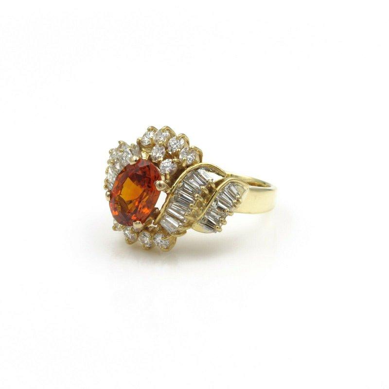National Rarities 18K GOLD OVAL SPESSARTITE GARNET AND DIAMOND COCKTAIL RING, 3.97 CTW SIZE 6 E-94