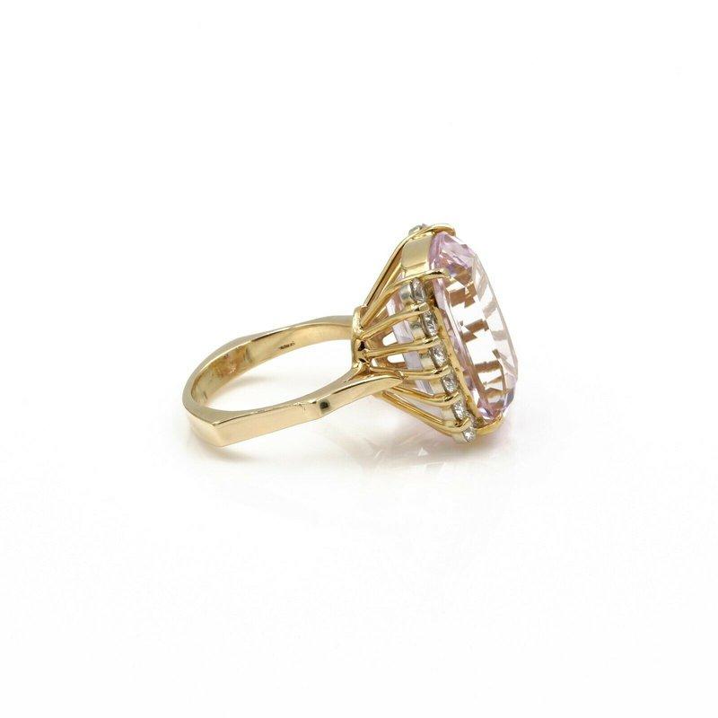 National Rarities 18K GOLD 15.36 CTW KUNZITE AND DIAMOND COCKTAIL RING W/ EURO SHANK 5.75 #E-329
