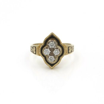 VINTAGE 14K SOLID GOLD 0.40 CTW DIAMOND ENAMEL & FILIGREE RING SIZE 8.75 #990B-5