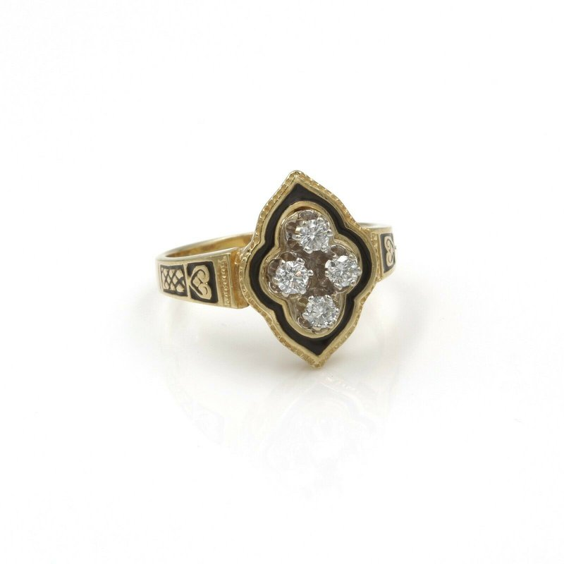 National Rarities VINTAGE 14K SOLID GOLD 0.40 CTW DIAMOND ENAMEL & FILIGREE RING SIZE 8.75 #990B-5