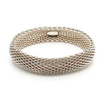 "TIFFANY & CO STERLING SILVER SOMERSET MESH WOVEN BRACELET 7 - 7.25""  NR# 1018B-7"