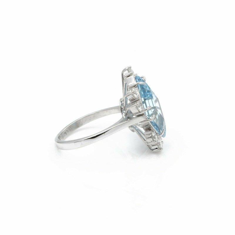 National Rarities 14K WHITE GOLD LOZENGE AQUAMARINE & ROUND DIAMOND ASYMMETRICAL RING 7.25 #J147-3