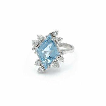 14K WHITE GOLD LOZENGE AQUAMARINE & ROUND DIAMOND ASYMMETRICAL RING 7.25 #J147-3