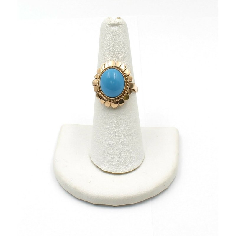 National Rarities 14K GOLD RETRO STYLE TURQUOISE CABOCHON RING PANEL DESIGN SIZE 6.5 JB31-10
