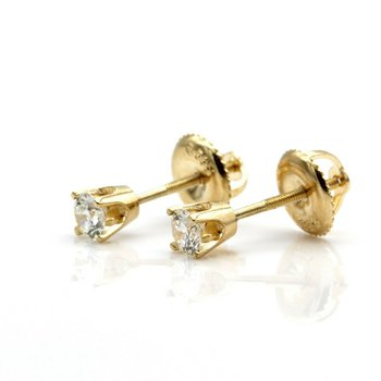 14K SOLID GOLD 0.25 CTW G-H IN COLOR SV2 CLARITY DIAMOND STUD EARRINGS #JB35-2