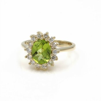14K YELLOW GOLD 3.53 CTW OVAL CHECKERBOARD PERIDOT DIAMOND HALO RING #E-314