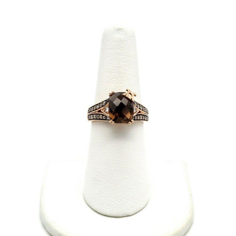 Le Vian LEVIAN 14K ROSE GOLD SMOKY QUARTZ VANILLA & CHOCOLATE DIAMOND RING 6.75 #1010B-1
