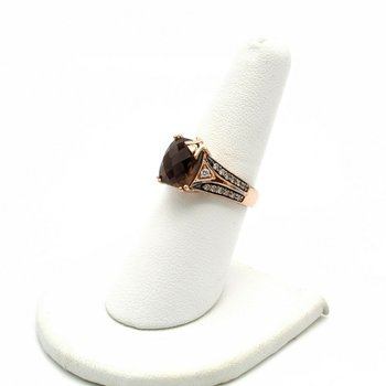 LEVIAN 14K ROSE GOLD SMOKY QUARTZ VANILLA & CHOCOLATE DIAMOND RING 6.75 #1010B-1