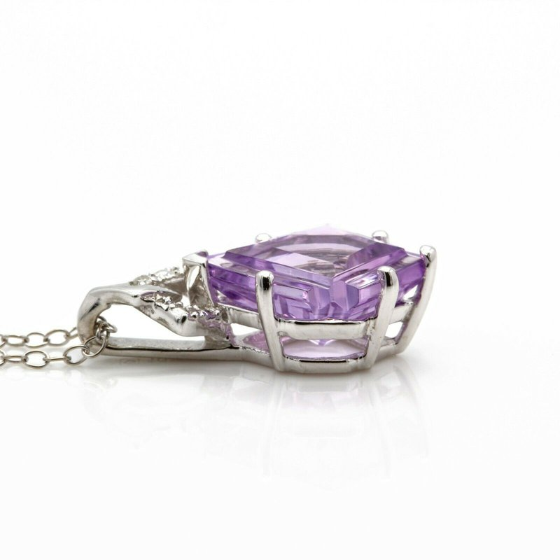 Unbranded 10K WHITE GOLD FANTASY CUT AMETHYST AND ROUND DIAMOND NECKLACE UNIQUE JB36-3