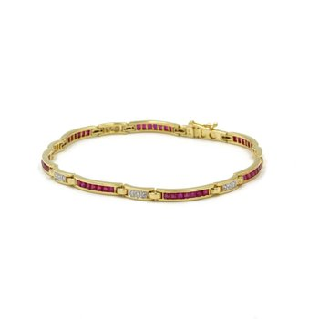 18K YELLOW GOLD 4.37 CTW SQUARE RUBY & DIAMOND CHANNEL SET LINK BRACELET #E-317