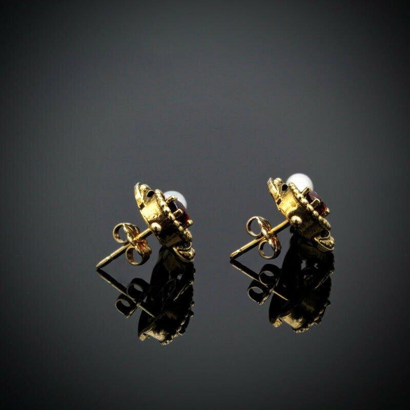 National Rarities VINTAGE 14K GOLD 1.60 CTW OVAL GARNET & RICE PEARL POST DANGLE EARRINGS #961B-8