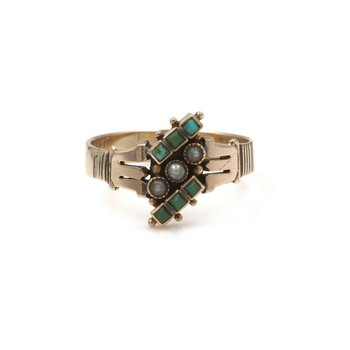 10K SOLID GOLD SEED PEARL & TURQUOISE VINTAGE ART DECO RING SIZE 7.25 #990B-1